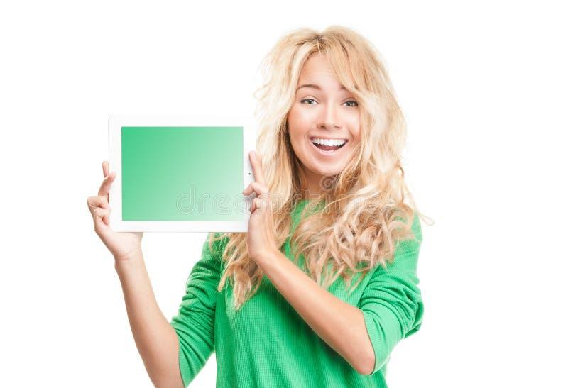 Mulher nova com computador da tabuleta. imagem de stock royalty free