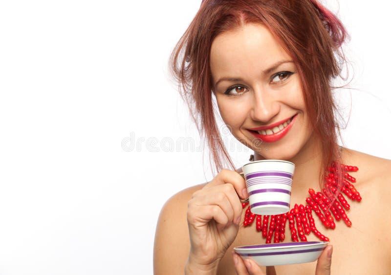 Mulher nova com copo de café foto de stock royalty free