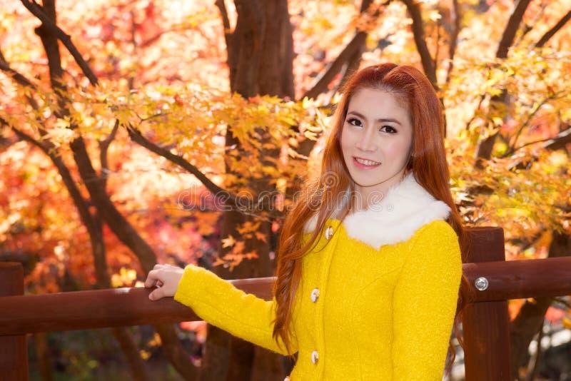 Mulher nova com folhas de outono fotos de stock royalty free