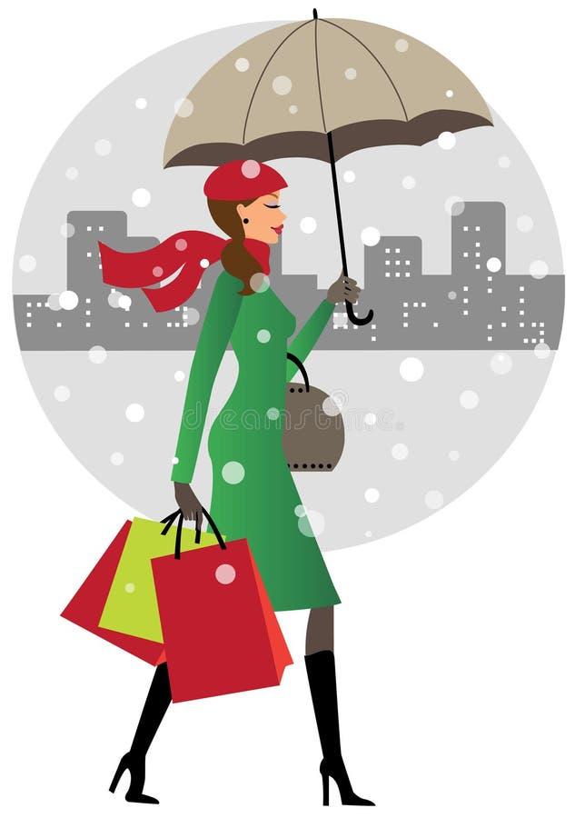 Mulher nova com guarda-chuva ilustração royalty free