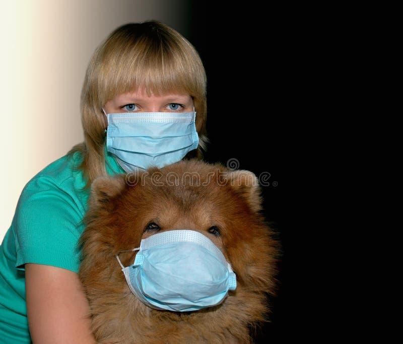 Mulher nova com máscara e cão da proteção fotografia de stock royalty free