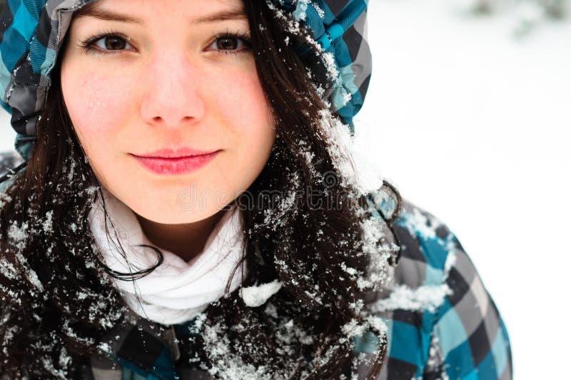 Mulher nova com neve imagens de stock
