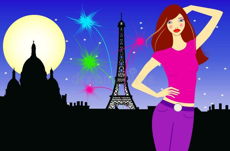 Mulher nova com o chapéu em Paris ilustração royalty free