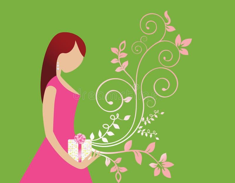 Mulher nova com presente e flourish ilustração royalty free