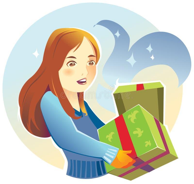 Mulher nova com presentes ilustração stock