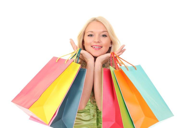 Mulher nova com sacos foto de stock royalty free