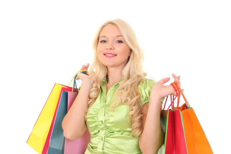 Mulher nova com sacos imagens de stock