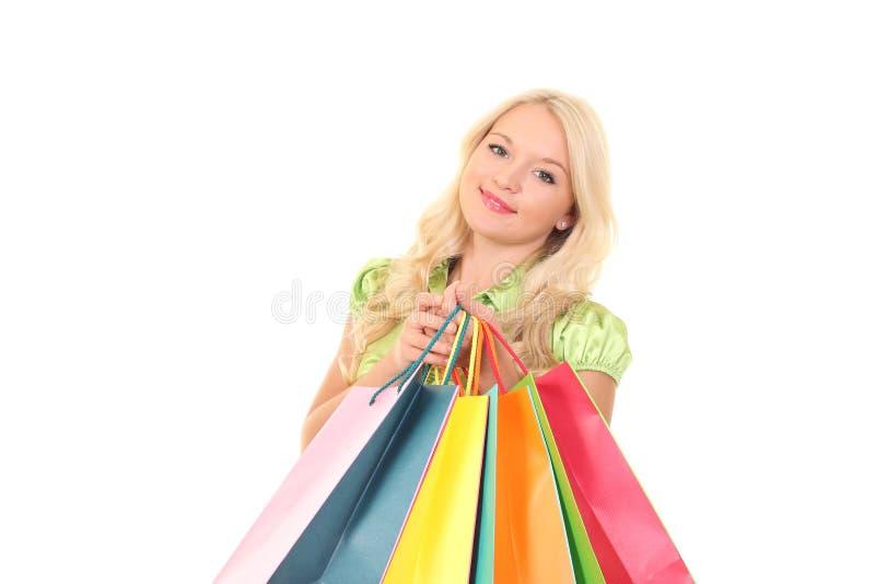 Mulher nova com sacos imagem de stock royalty free