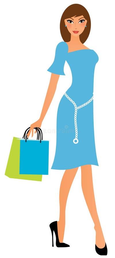 Mulher nova com sacos de compra ilustração do vetor
