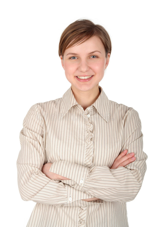 Mulher nova com seus braços cruzados imagens de stock
