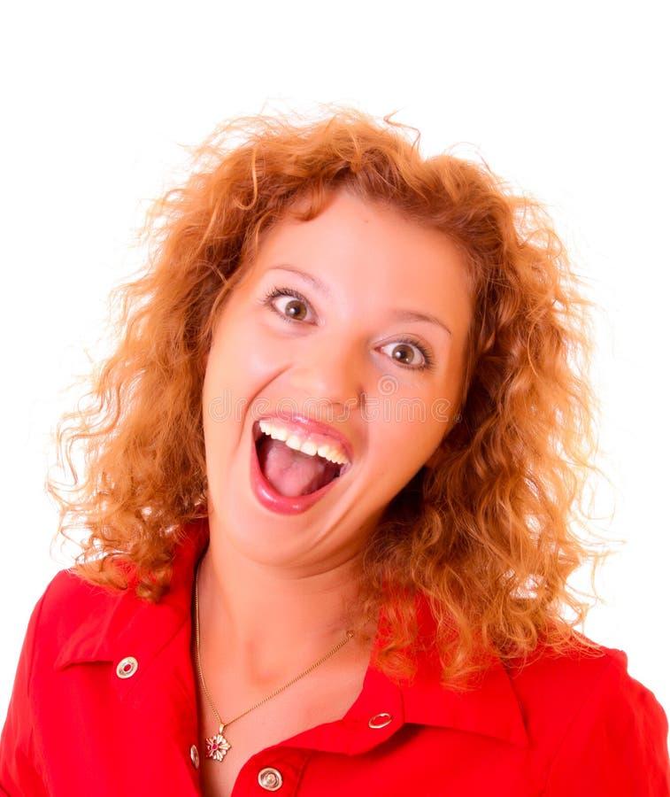 Mulher nova com sorriso louco imagem de stock royalty free