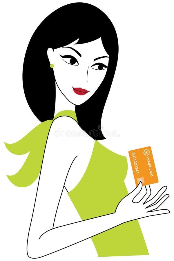 Mulher nova com um cartão de crédito ilustração stock