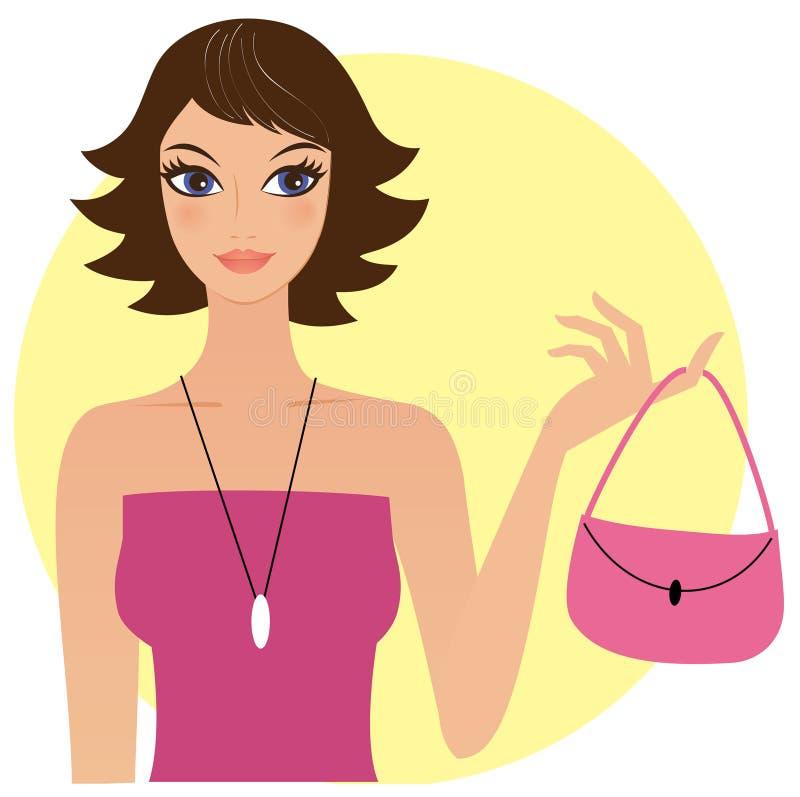 Mulher nova com uma bolsa cor-de-rosa ilustração stock