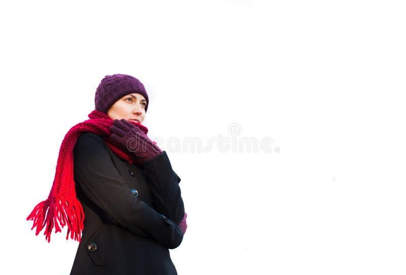 Mulher nova congelada imagem de stock