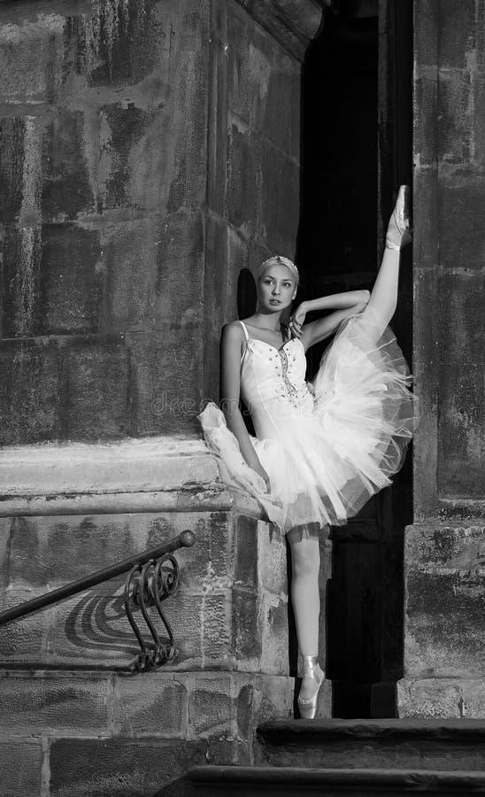 Mulher nova da bailarina que levanta em escadas foto de stock
