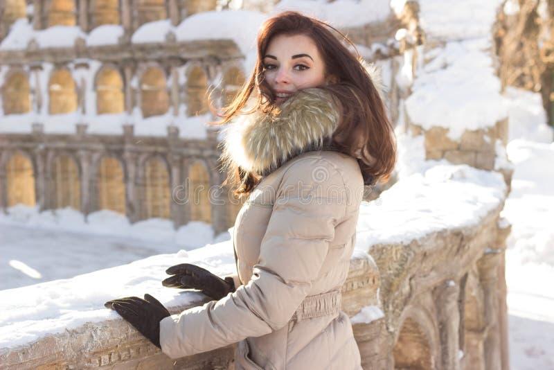 Mulher nova da beleza no parque do inverno foto de stock