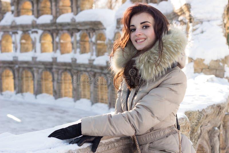 Mulher nova da beleza no parque do inverno imagem de stock