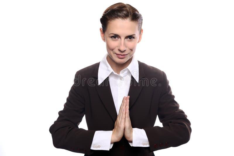 Mulher nova da mulher de negócio na meditação fotografia de stock