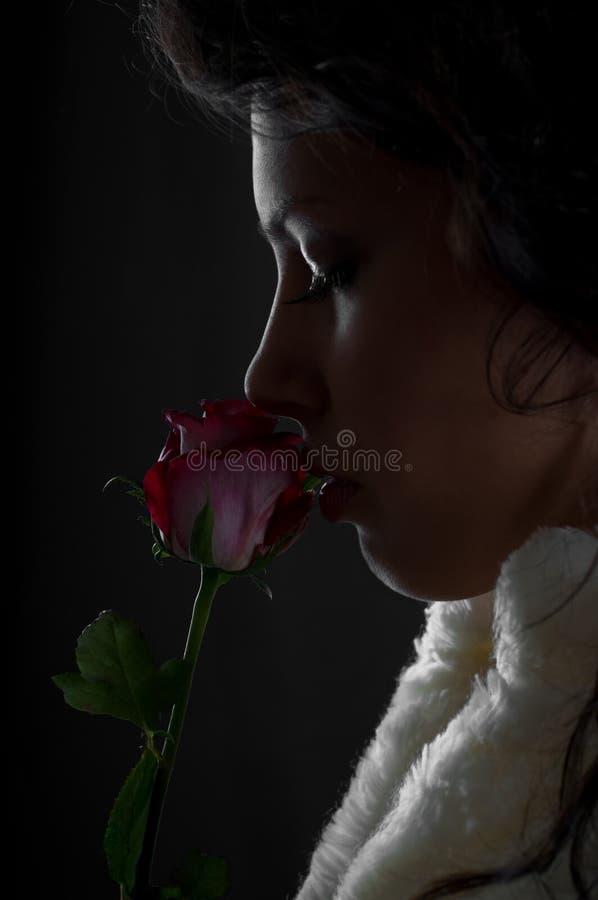 A mulher nova de Beautifull com levantou-se fotos de stock royalty free