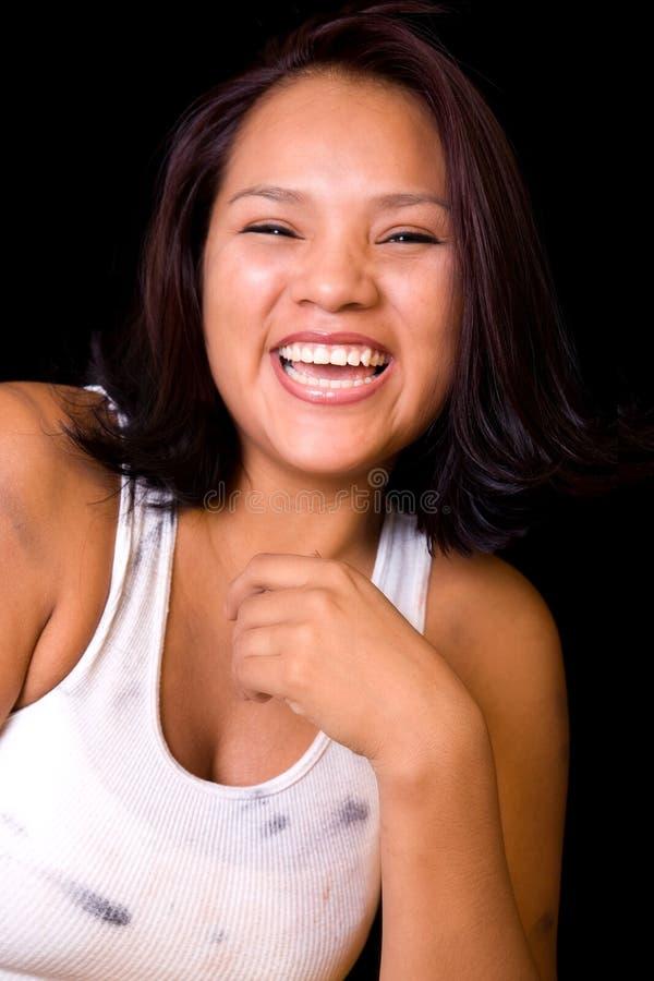 Mulher nova de riso fotos de stock royalty free