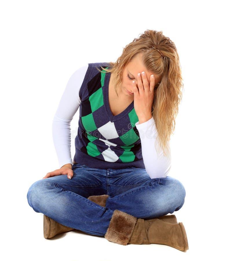 Mulher nova deprimida imagens de stock royalty free