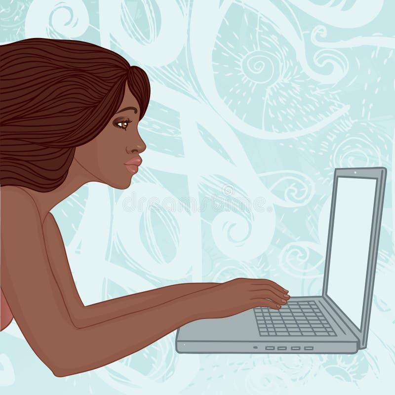 Mulher nova do americano africano com um portátil ilustração royalty free