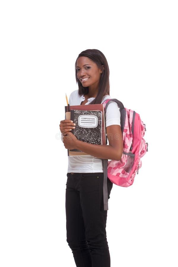 Mulher nova do americano africano do estudante universitário foto de stock