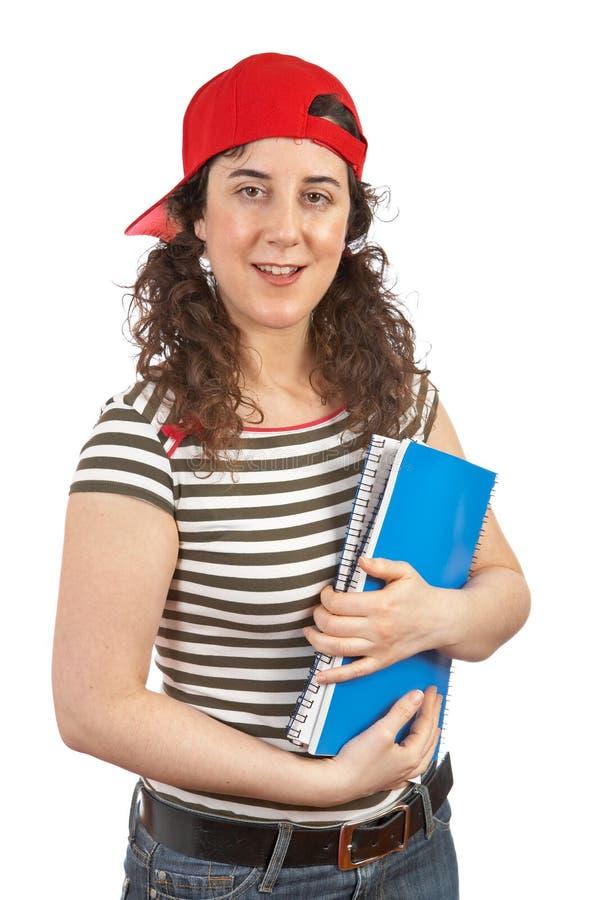 Mulher nova do estudante com tampão imagem de stock