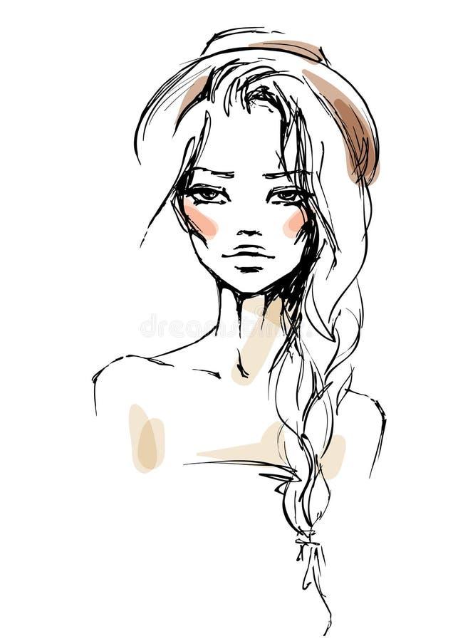 Mulher nova em um chapéu ilustração stock
