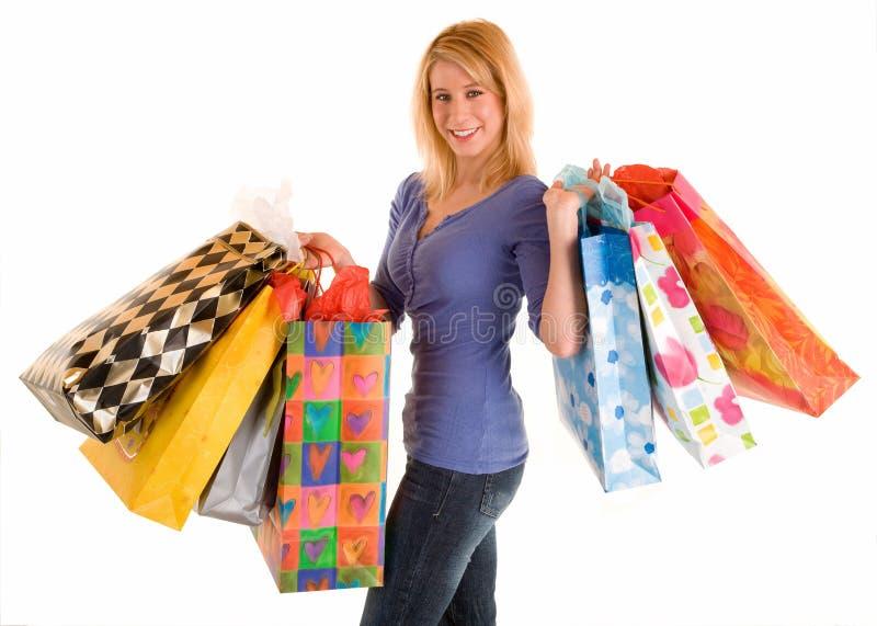 Mulher nova em uma série da compra imagem de stock