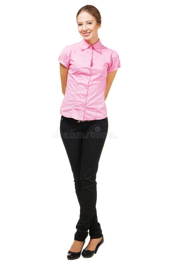 Mulher nova encantadora na roupa elegante fotografia de stock