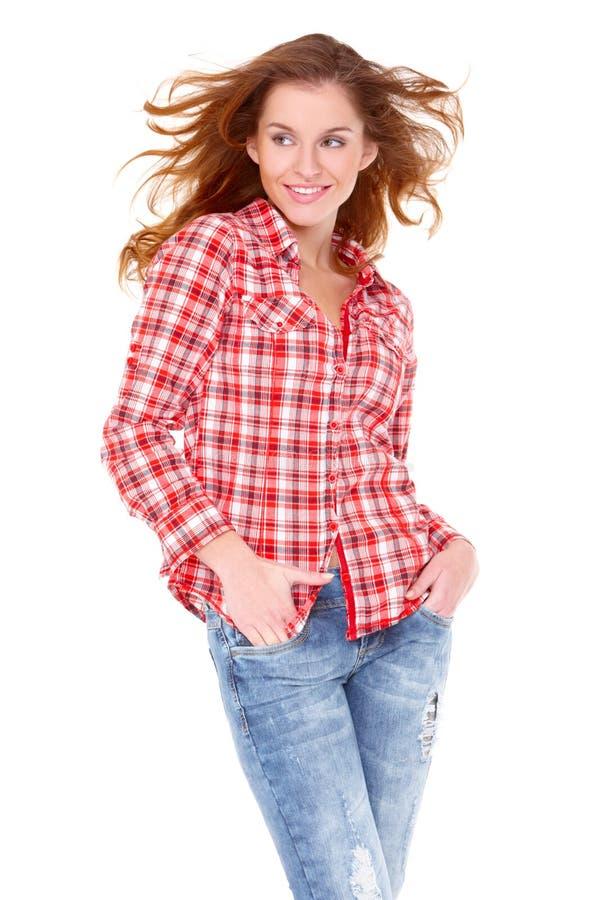 Mulher nova encantadora na roupa ocasional fotografia de stock