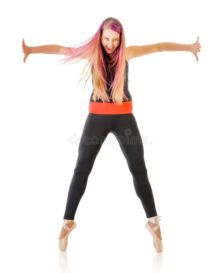 Mulher nova expressivo da dança imagens de stock