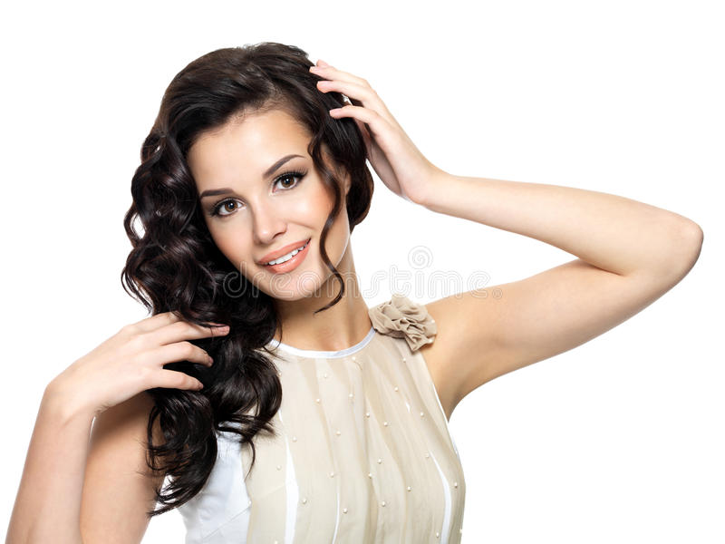 Mulher nova feliz com cabelo longo da beleza. fotografia de stock