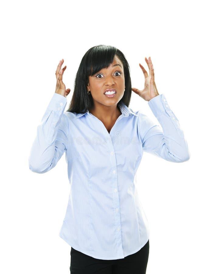 Mulher nova frustrante fotografia de stock