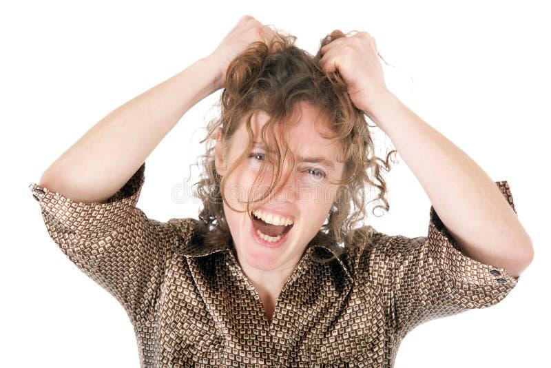 Mulher nova frustrante imagem de stock