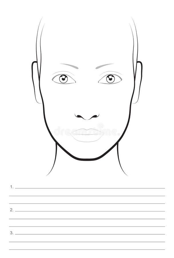 Mulher nova 15 Maquilhador Blank da carta da cara molde ilustração royalty free