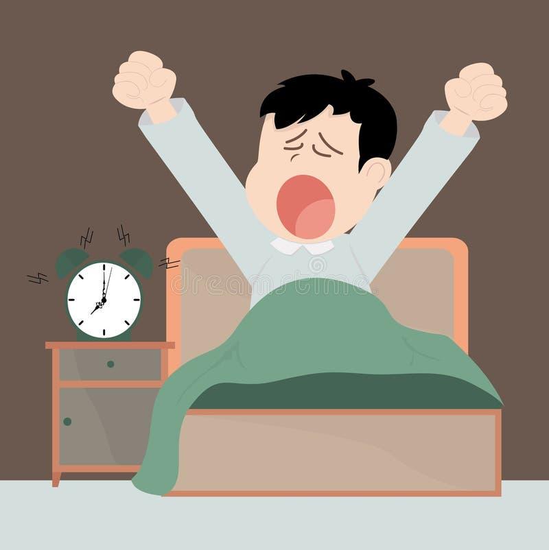 Mulher nova na cama na manhã ilustração do vetor