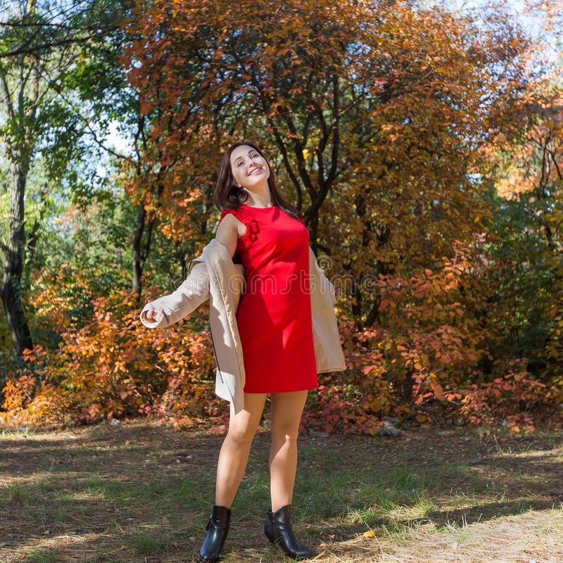 Mulher nova na floresta do outono foto de stock