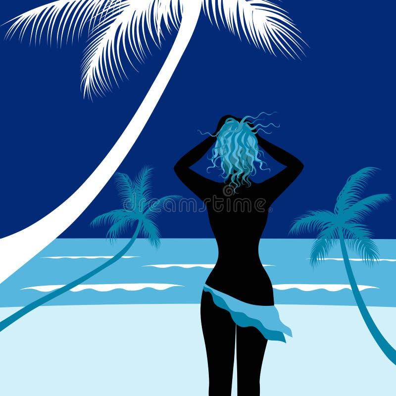 Mulher nova na praia ilustração stock