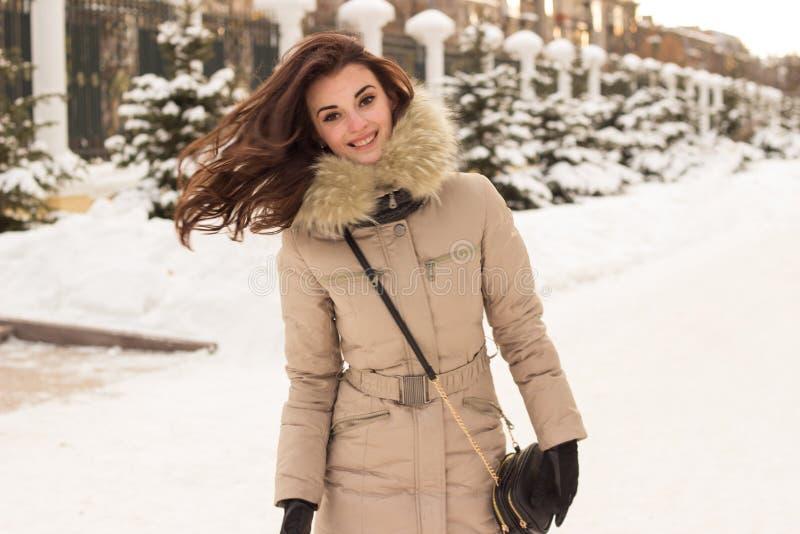 Mulher nova no parque do inverno foto de stock