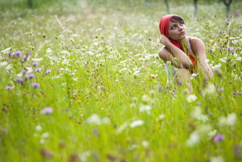 Mulher nova no prado foto de stock