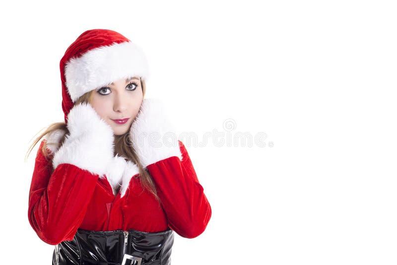 Mulher nova no traje de Santa imagens de stock royalty free
