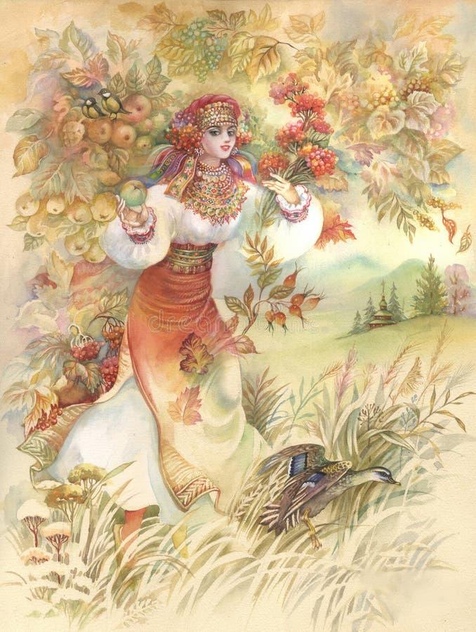 Mulher nova no traje ucraniano ilustração royalty free