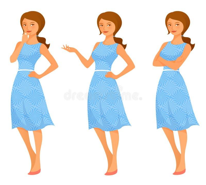 Mulher nova no vestido do verão ilustração do vetor