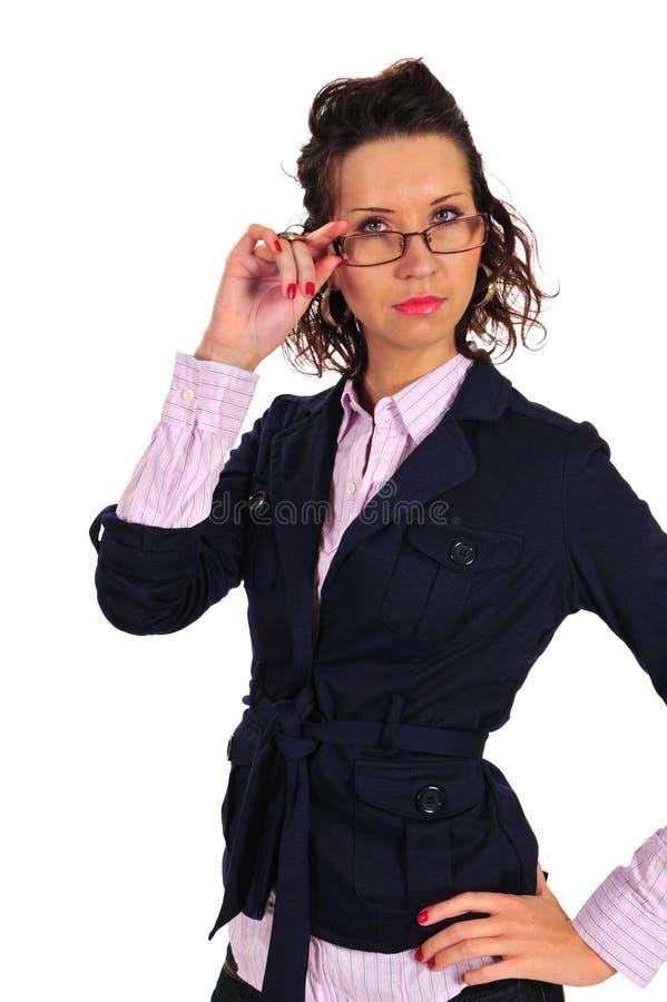 Mulher nova nos vidros imagens de stock royalty free