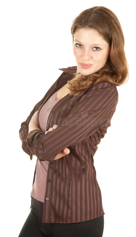 Mulher nova ocasional com braço cruzado imagem de stock