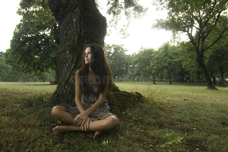 Mulher nova pura, natural, bonita na natureza imagens de stock