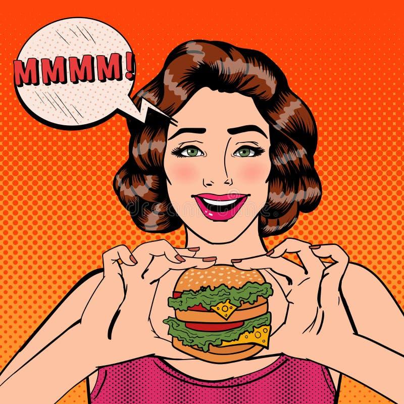 Mulher nova que come o Hamburger Mulher que guarda o hamburguer Pop art ilustração stock