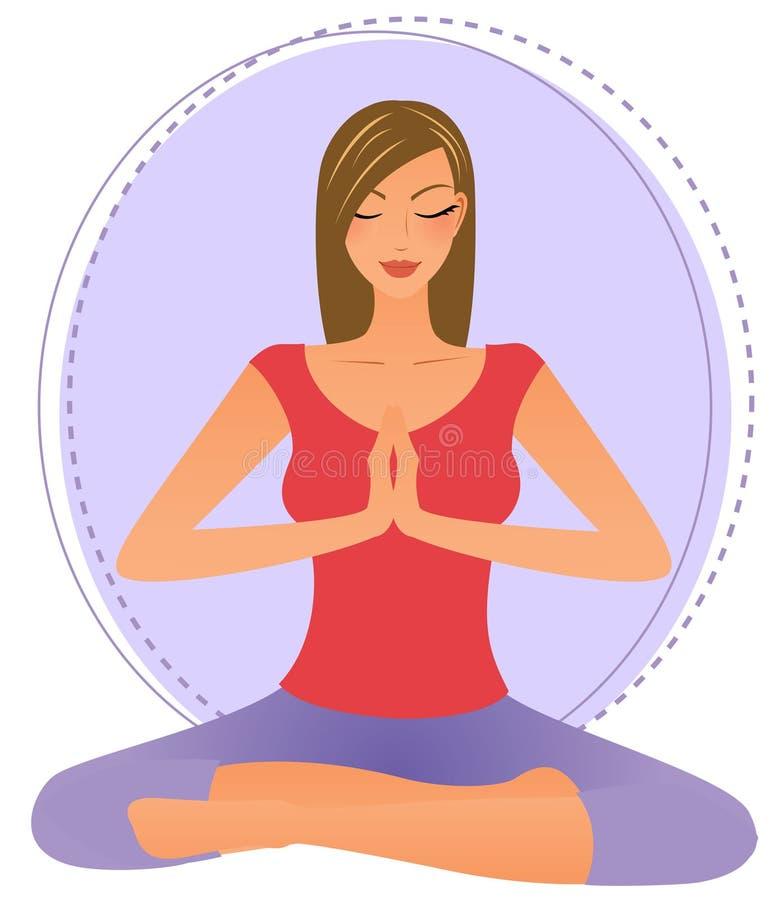 Mulher nova que faz a ioga ilustração do vetor